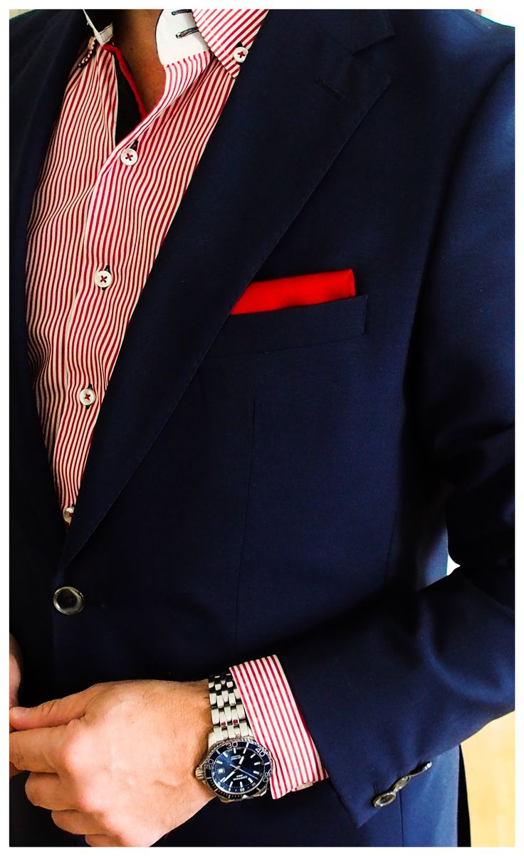 Stylish take on the navy suit, RED, WHITE AND BLUE