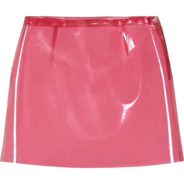 Miu Miu A-line vinyl mini skirt ($70) ❤ liked on Polyvore featuring skirts, mini skirts, bottoms, pink, bubblegum, short pink skirt, vinyl skirting, a line mini skirt, red skirt and zipper skirt