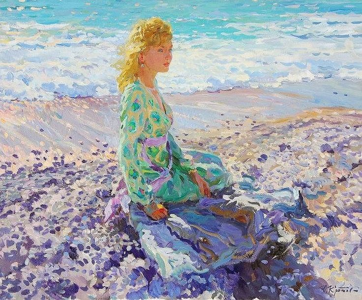 Yuri Krotov (b. 1964) - Young lady at the seaside - by Dreweatts & Bloomsbury