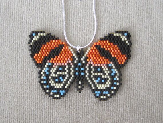 Tropical Butterfly Beaded Pendant & 18 Inch Sterling by Ringallure