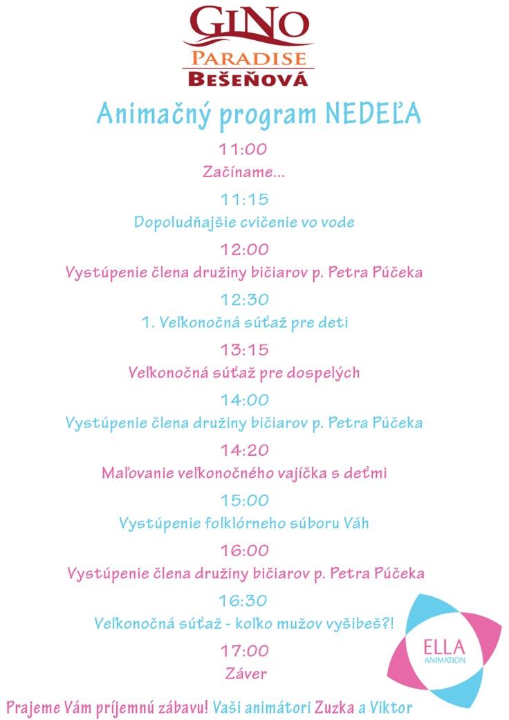 Animačný program na nedeľu
