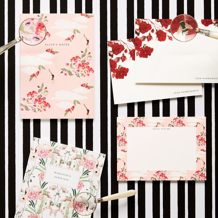 MOTHER OF PEARL X PAPIER COLLABORATION personalised notebooks and stationary available in  Pink Dreamer and Scarlet Rose.