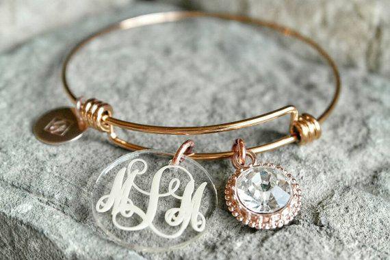 Monogram armband  aangepaste Charm armband  bruidsmeisje