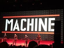 Kraftwerk performing in front of a 3D video screen at the Riviera Theatre in Chicago on March 27, 2014. L-R: Ralf Hütter, Henning Schmitz, Fritz Hilpert, Falk Grieffenhagen.