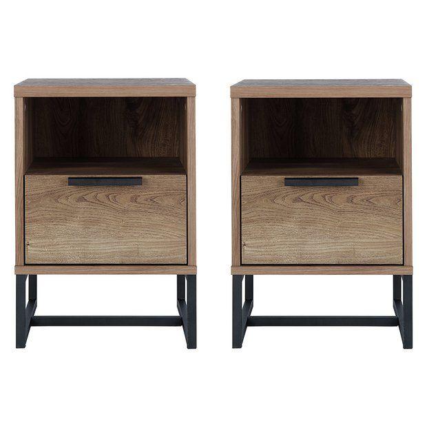 Buy Argos Home Nomad 2 Bedside Tables Set Oak Effect Bedside Tables Argos Home Industrial Style Bedside Table Oak Bedside Tables