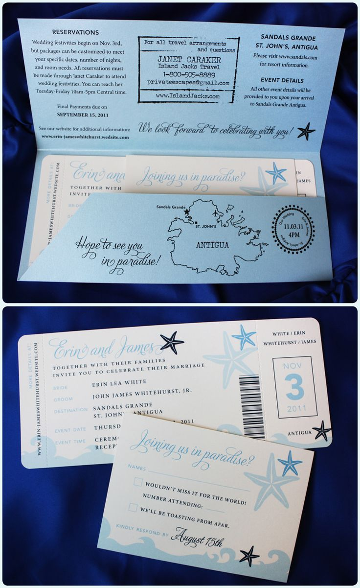 Airline ticket wedding invitations with shades of blue waves and starfish and light blue pocket folder