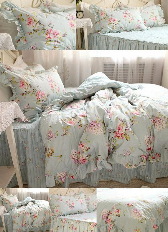 20 Off Floral European Flower Blue Shabby Chic Bedding Set