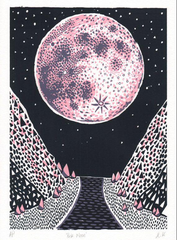 Pink Moon Screen Print Illustration