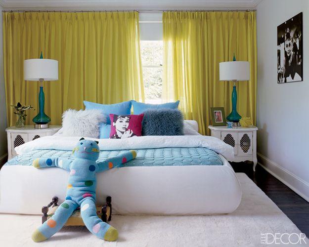 yellow turquoise teen bedroom elle decorTeen Girls Room, Teen Bedrooms, Curtains, Beds, Elle Decor, Kids Room, Teenagers Dreams, Teen Girls Bedrooms, Teen Room
