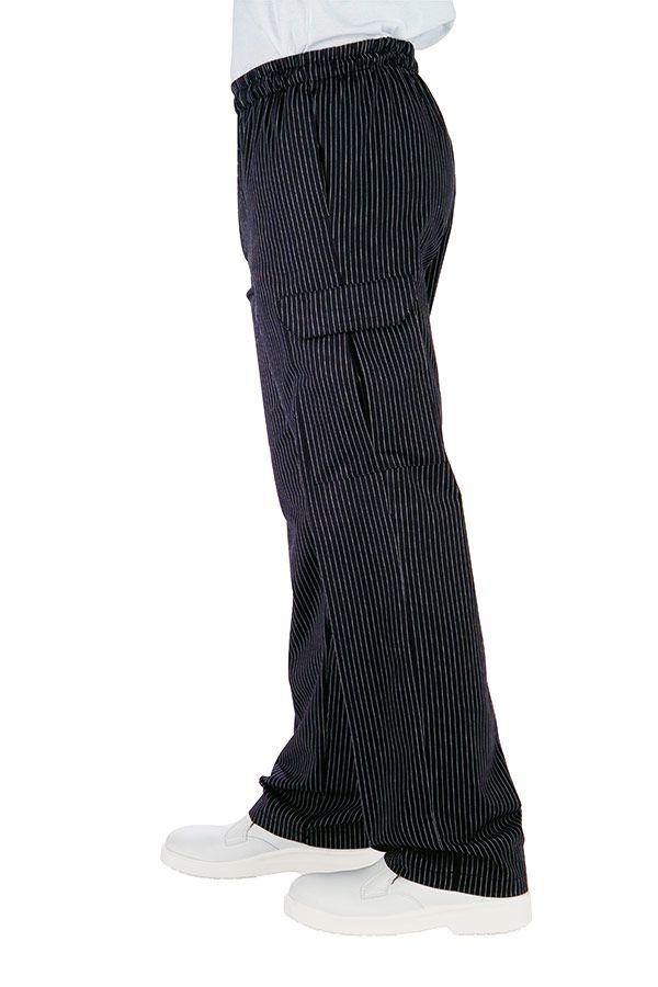 MODEL CHEF. - 120 lei. Un pantalon comod, conceput cu buzunare clasice dar si cu doua buzunare aplicate pe lateralul lor, cu banda elastica, dublata de snur la partea superioara, care fac din acest model de pantaloni alegerea perfecta pentru cine isi doreste un plus de comoditate in bucatarie.