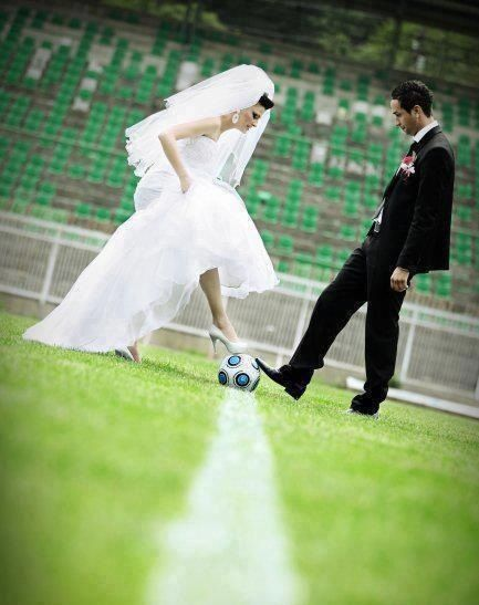 Must have a picture like this! And an engagement photo with our soccer cleats :)