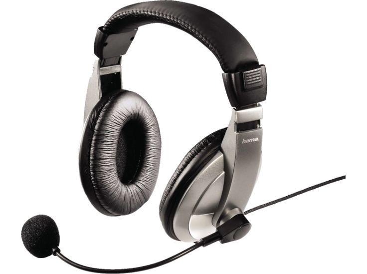 HAMA AH-100 fekete/szürke mikrofonos fejhallgató - headphones with microphone