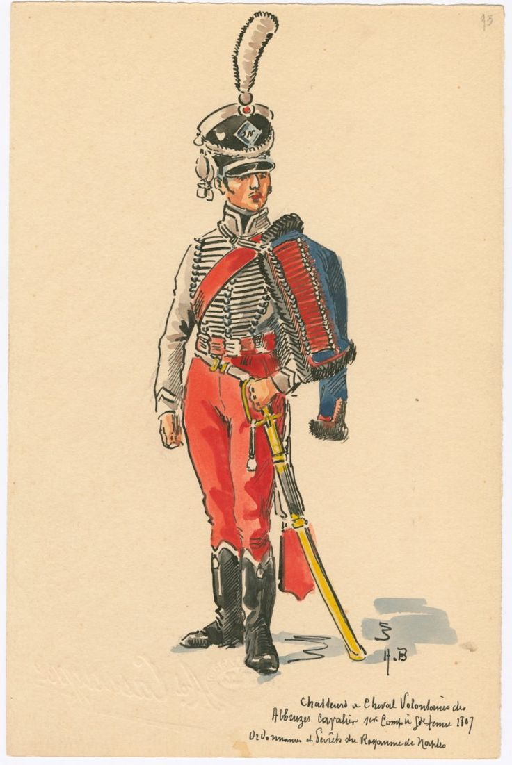 Naples; Chasseurs a Cheval, Volontaires des Abbruzes, 1st Company, Grande Tenue 1807 by H.Boisselier
