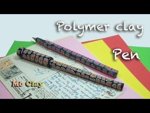 ▶ How-to make easy Polymer Clay pen by Mo Clay - Bolígrafo en arcilla polimérica - Penna decorata con Fimo - YouTube