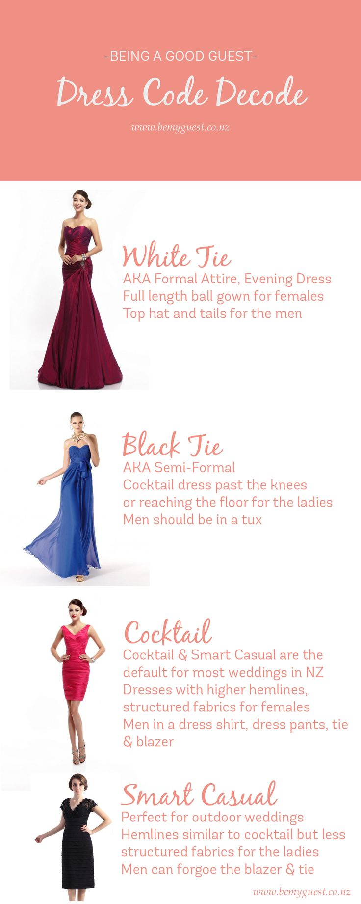 Decoding the Dress Code for Weddings - What to wear?!  This post helps you figure out what your outfit should be for a wedding which doesn't list a dress code... and gives you the general rules for what to wear when a dress code is mentioned   http://www.bemyguest.co.nz/decoding-the-dress-code-for-weddings-what-to-wear/