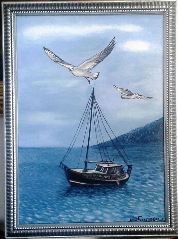 """""""MAVİLİK"""" Tuval üzeri yağlıboya, (özgün) 35x25cm."""