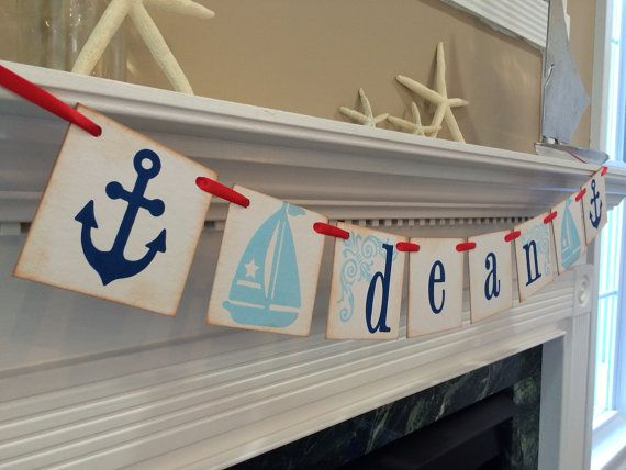 Nautical Room Decor / Personalized Boy Name Banner / Boy Nautical Baby Shower Banner on Etsy, $18.00