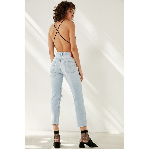 Levi's 501 Cropped Skinny Jean (62.145 CLP) ❤ liked on Polyvore featuring jeans, high-waisted jeans, levi jeans, high-waisted skinny jeans, destroyed skinny jeans and high waisted jeans