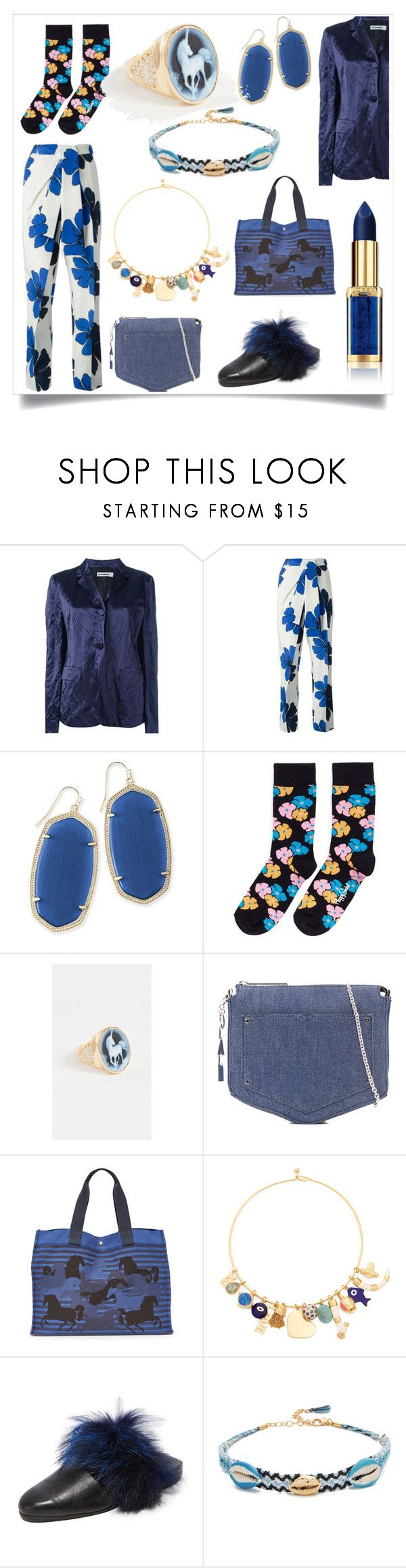 """""""Fashion and beauty"""" by emmamegan-5678 ❤ liked on Polyvore featuring Jil Sander, Kendra Scott, Happy Socks, Jacquie Aiche, Eddie Borgo, Tory Burch, Parme Marin, Rebecca Minkoff and modern"""