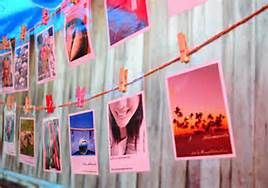 high school graduation party ideas - Photos on clothesline with written descriptions/stories.