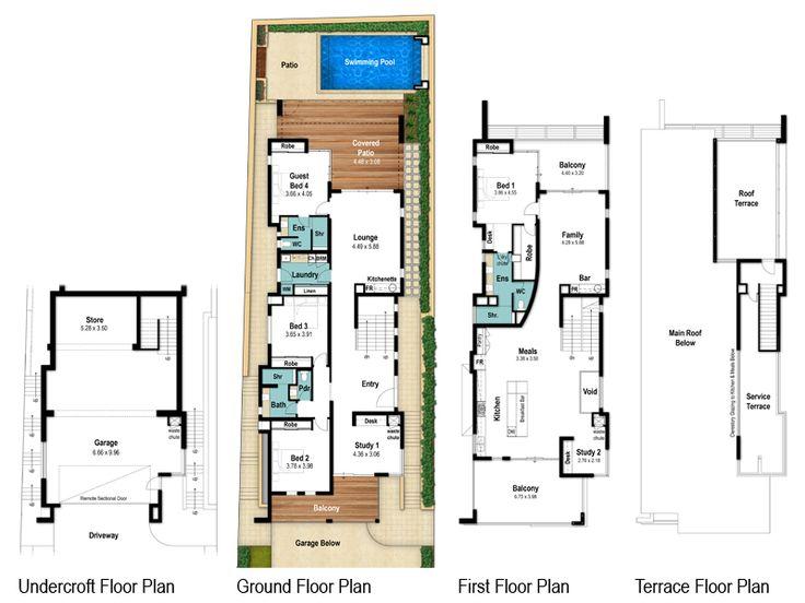 Hillsborough four storey floor plans by Boyd Design Perth. Let's design your next home.