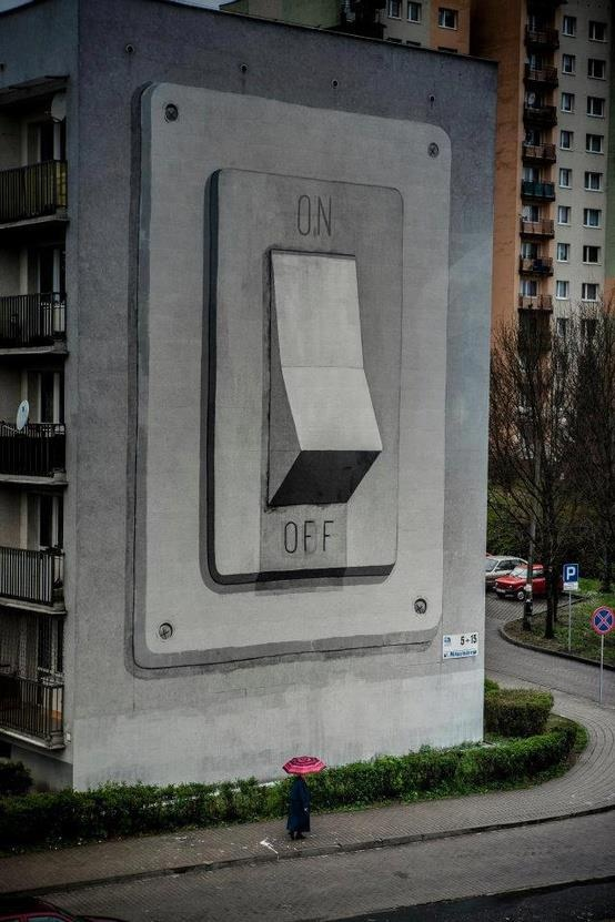 On off by unknown this street art plays with proportion - Scale and proportion in art ...