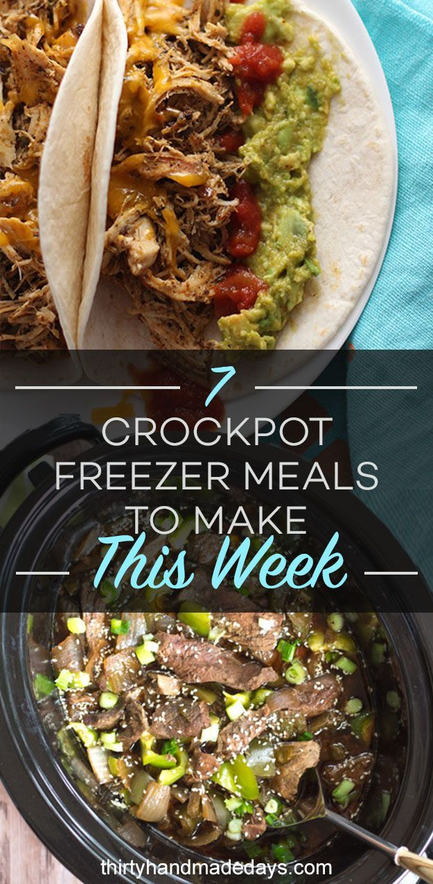 Here are 7 healthy, delicious, and budget-friendly crockpot freezer meals to make this week. Free printable recipes and grocery list included!