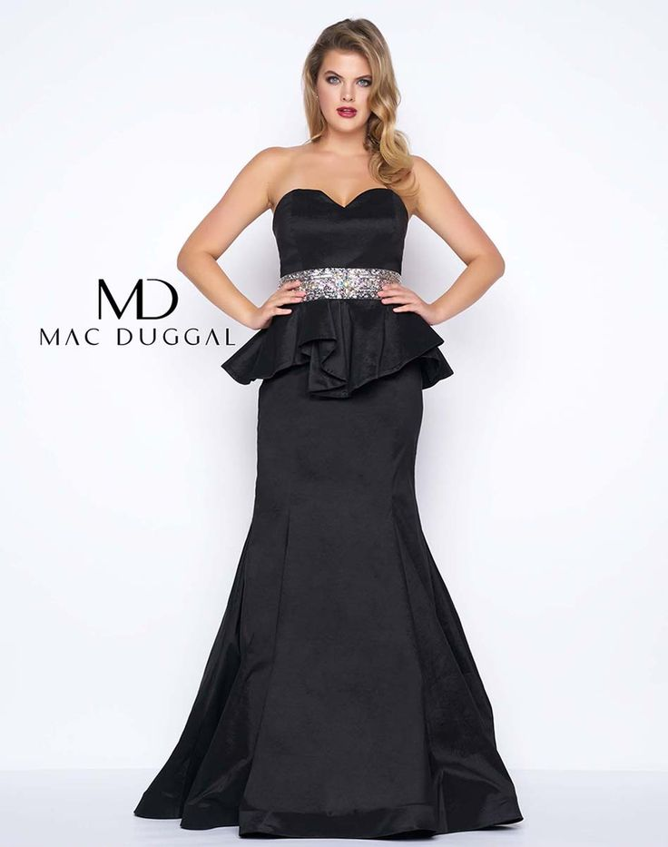 Sequin dress with v-neckline and beaded waistline. This plus size peplum dress is available in black or red.