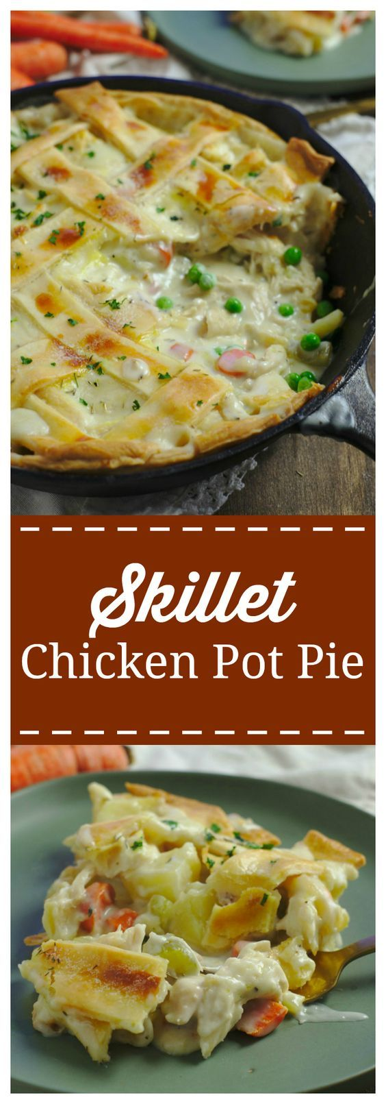 Skillet Chicken Pot Pie – The ultimate comfort food made right in a skillet! Chicken combined with carrots, celery, potatoes, peas and topped with a thick and creamy homemade gravy. Easy and so delicious! #comfortfood #chicken #pie #dinner
