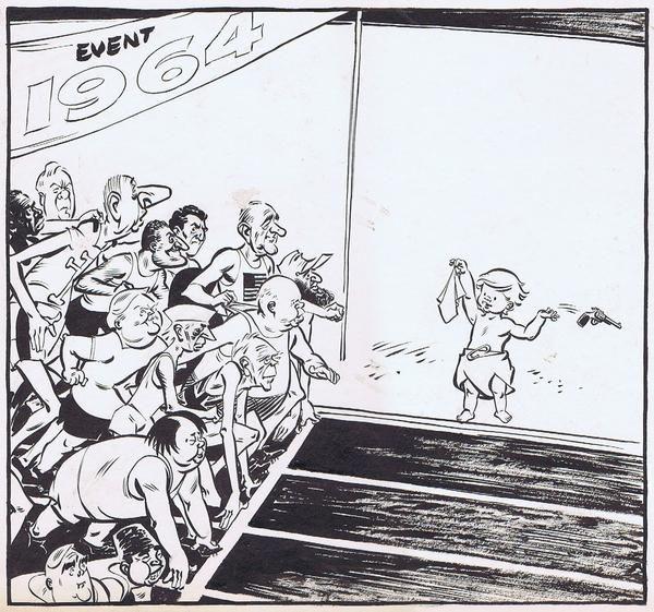 Colvin, Neville 1964   44 of 46 No Caption President Johnson, De Gaulle, Alec Douglas Home, Mao race Olympics cartoon.