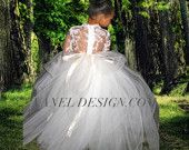 Flower Girl Lace Tutu Dress Bridesmaid Chic Dress with layers of tulle Birthday Party Princes Dress