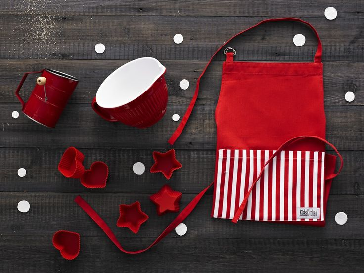 Mini Masterchef – Red $70.00  Kids Kitchen mini melamine mixing bowl in red with rubber base, Kids Kitchen mini stainless steel flour sifter with old-fashioned crank handle in red, Kids Kitchen set of 3 hearts and 3 stars silicone cupcake moulds in red, Kids Kitchen mini 100% cotton apron with adjustable neck strap in red www.thespecialdeliverycompany.com.au
