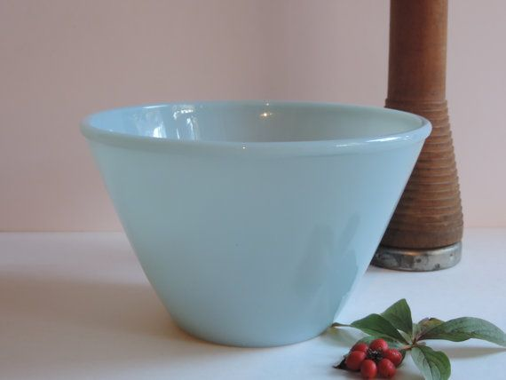 Vintage Fire King Azurite Bowl Fire King Ovenware Delphite Blue 2 qt. Spill Proof Bowl Country Farmhouse Mixing Bowl