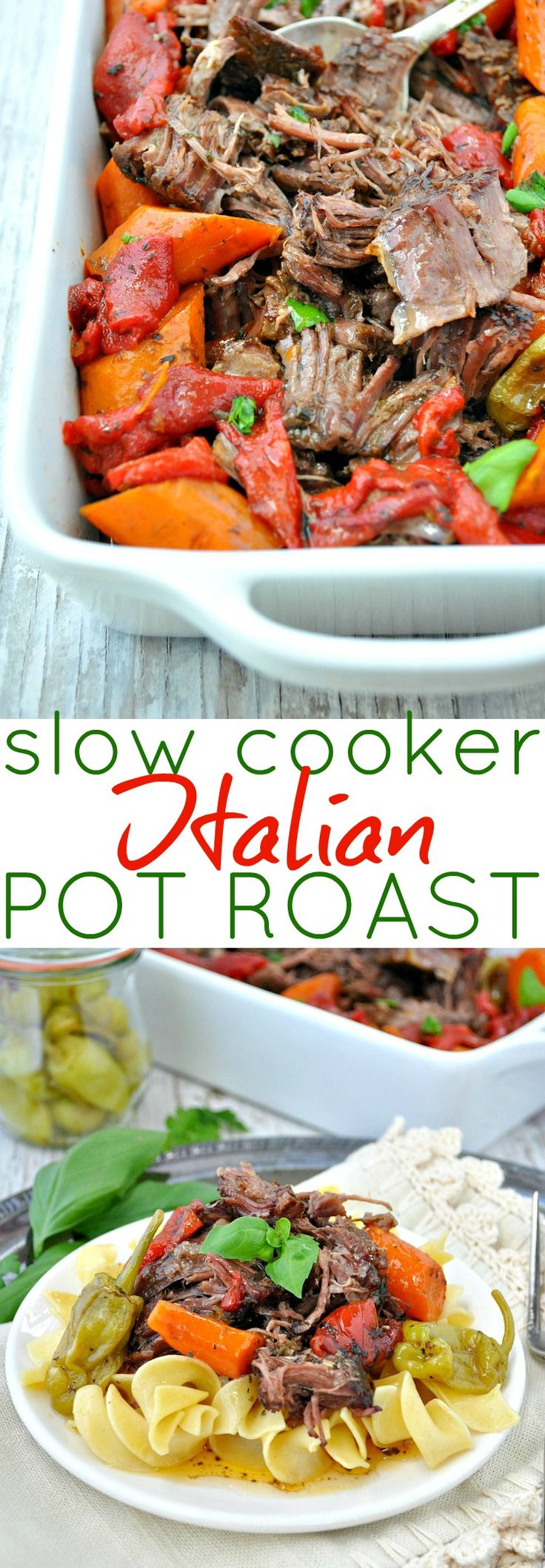 Tender, juicy, and full of flavor, this Slow Cooker Italian Pot Roast is an easy dinner recipe that your family will love!