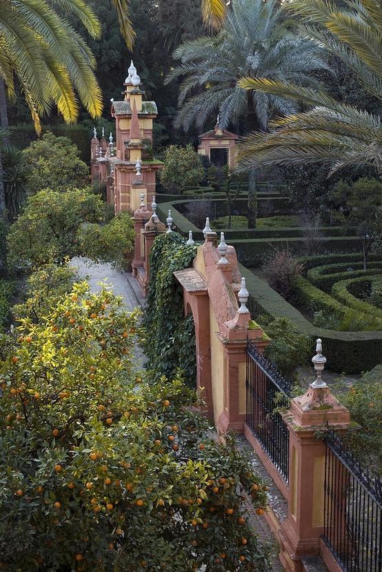The gardens of the Alcazar Palace, Seville, Spain