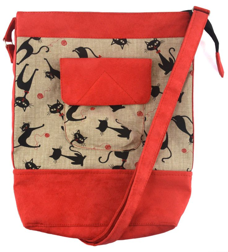 Handmade handbag! with printed black cats for ladies handmade of cotton and red faux suede by YapokBags on Etsy