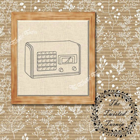antique vintage wooden radio machine embroidery design wall art original digital file instant download 4x4 ith - Bakers Gonna Bake Kitchen Redwork Embroidery Designs