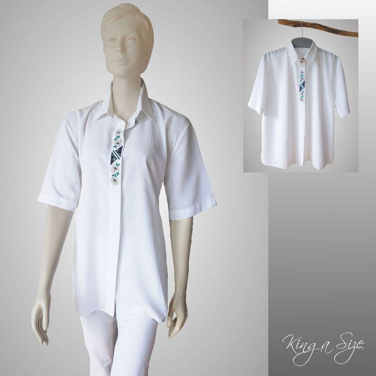 Trachten - Bluse Hemdbluse bestickt Hemd 1/2-Arm - weiß  Gr.46