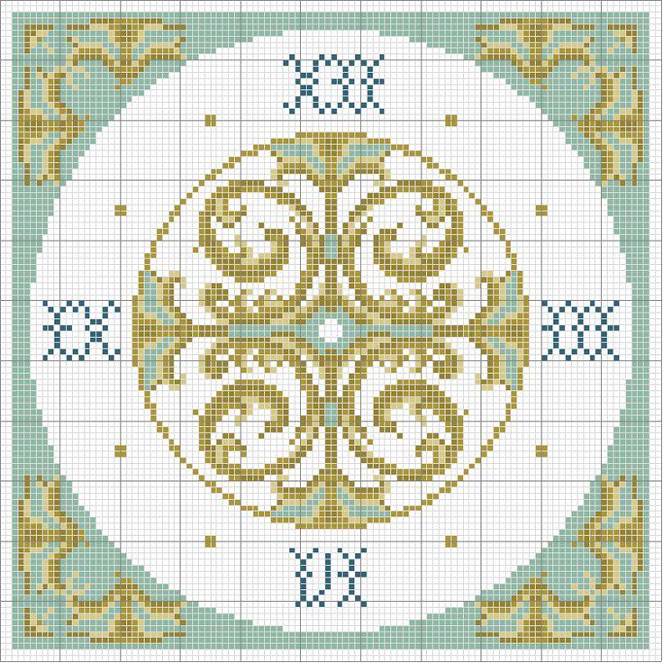 Schema punto croce Orologio 3