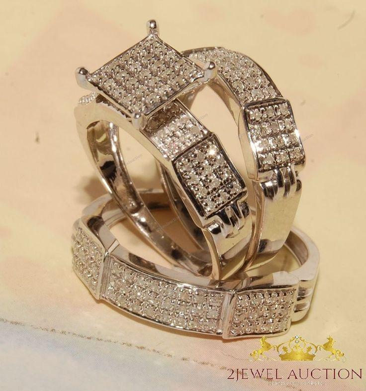 10k White Gold Diamond Rings Set Wedding Bridal Band Trio His Her Men Womens