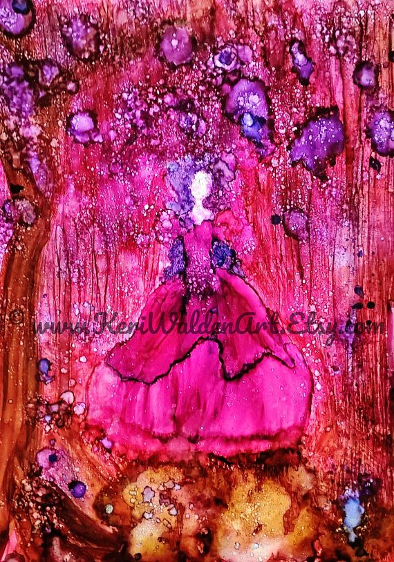 Title: La Petit Rouge Artist: Keri Phillips-Walden This is a giclée print of my original alcohol ink painting of a girl in the woods, inspired by Little Red Riding Hood. This fantasy print will look lovely in your favorite room. :) Printed on professional premium grade archival fine