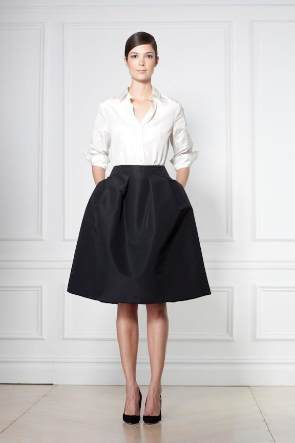 Skirt + Shirt | classic Carolina Herrera - I love how simple yet chic and timeless this is (plus... black and white, yay!)