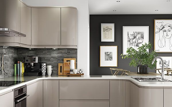 Dark slate grey and white with grey/cashmere kitchen