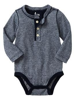 Thin-striped henley bodysuit | Gap