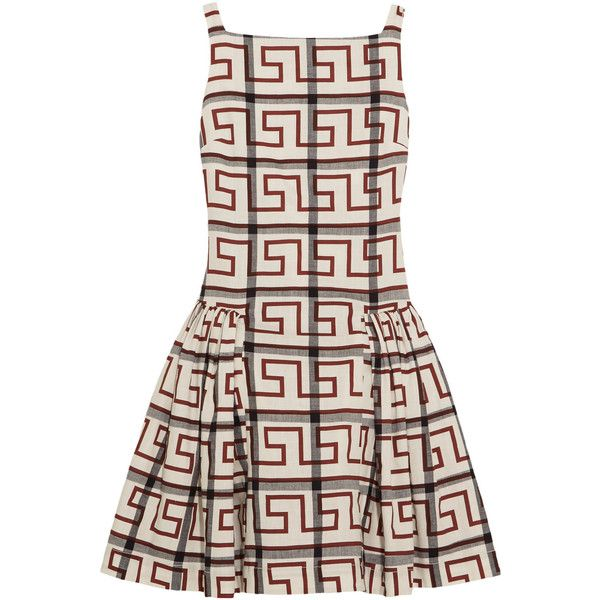 Vivienne Westwood Anglomania Degas printed stretch-cotton dress ($600) ❤ liked on Polyvore featuring dresses, dresses 3, vivienne westwood, brick, print dress, loose fitting dresses, vivienne westwood anglomania dress, loose fit dress and pattern dress