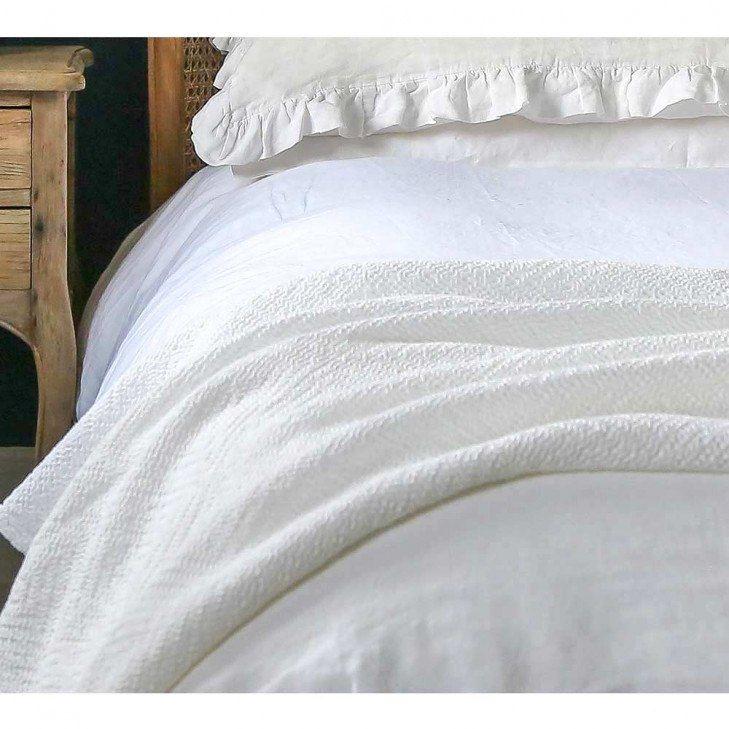 Undulating Weave Pure White Throw White Blanket Luxury