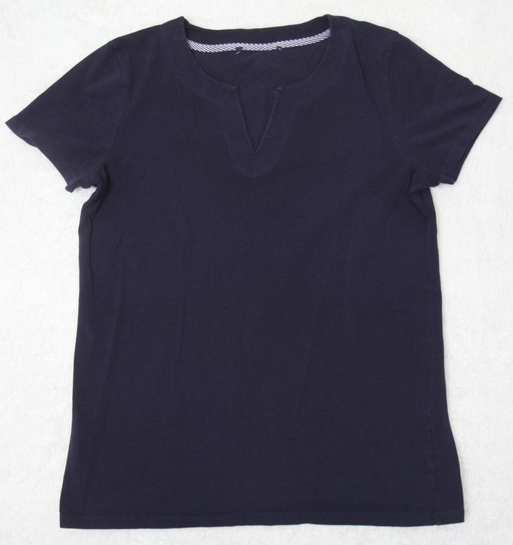 Tommy Hilfiger Tee Shirt Large Short Sleeve Cotton Navy Blue Womens V-Neck Woman #TommyHilfiger #BasicTee
