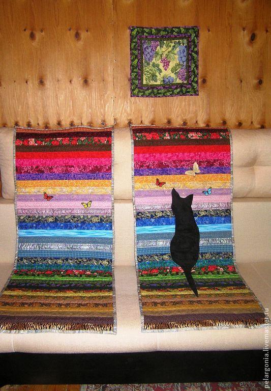 """Лоскутные накидки на кресло """"Кошка на рассвете"""". Пэчворк, лоскутное шитье, шитье из полос."""