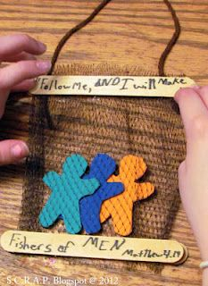 This is really CUTE and CLEVER! Fishers of People craft.  OUTCOME: We did this for a VBS craft.  If you have limited time and little ones, I would not recommend this. We used mesh squares and it was hard on our craft ladies.  The one positive is that we had each child write names on the people they were putting in their net as a promise to take special interest in sharing the Gospel with them.
