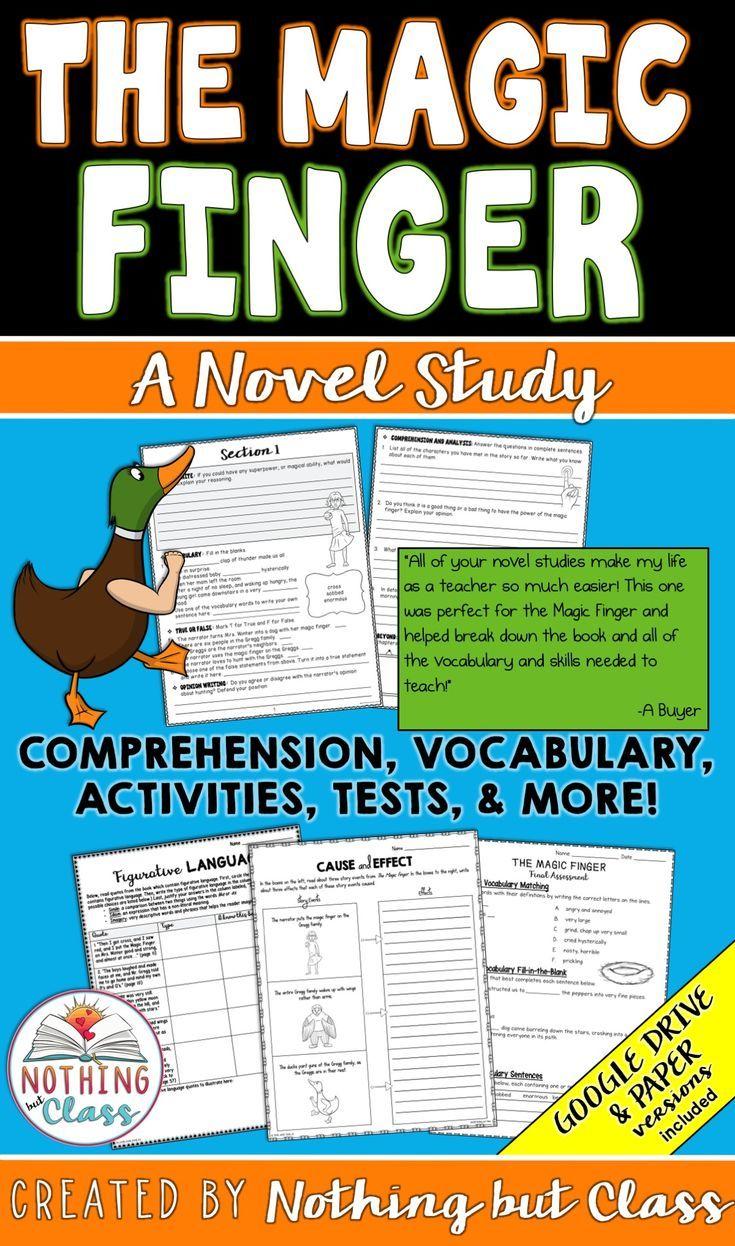 The Magic Finger Complete Novel Study Unit In 2020 Novel Study